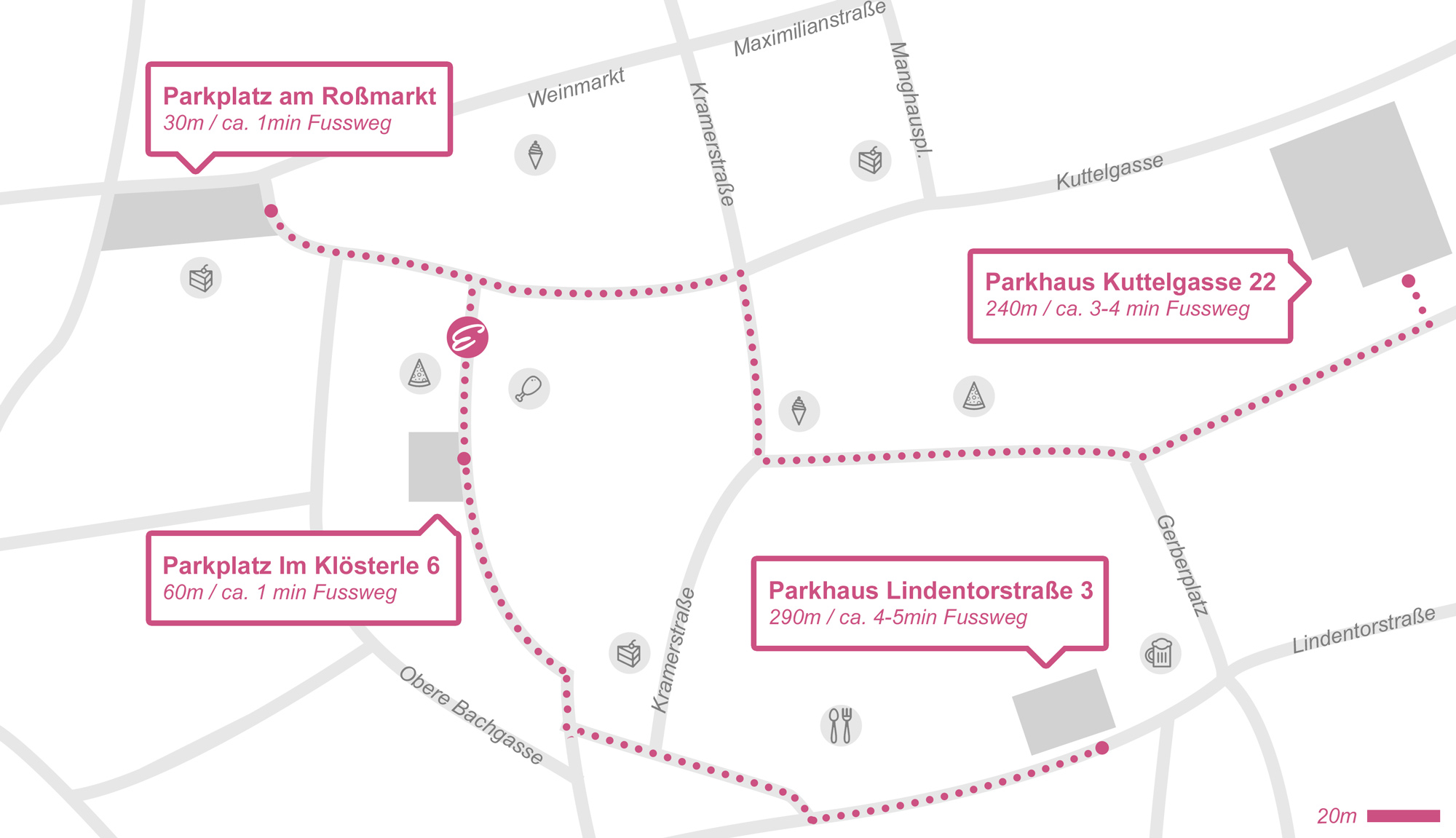 Parkplätze und Karte zum Brautmode Eden