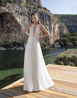 Brautkleid schlicht, tiefer Ausschnitt vorne und hinten