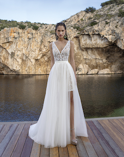 Kurzes Brautkleid mit Überrock
